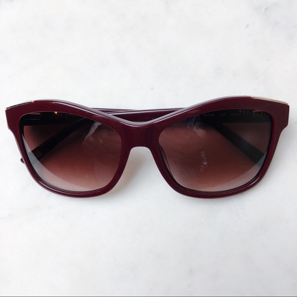 cf0294948b26eb Ted Baker Women s Sunglasses burgundy square NEW
